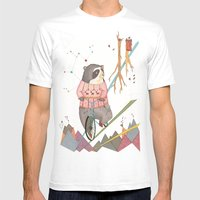 Bear in bicycle Mens Fitted Tee White SMALL