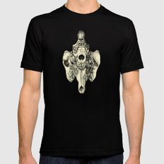 Coyote Skulls - Black and White Black Mens Fitted Tee SMALL
