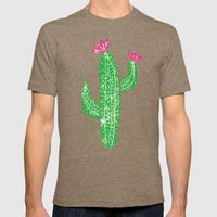 Linocut Cacti #2 Mens Fitted Tee Tri-Coffee SMALL