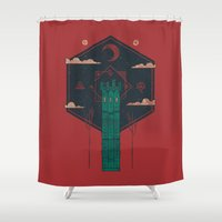 The Crimson Tower Shower Curtain