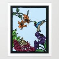 Hummingbird Garden Paper… Art Print