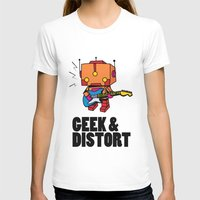 GEEK & DISTORT Womens Fitted Tee White SMALL