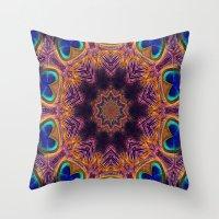 Peacock Fan Star Abstrac… Throw Pillow