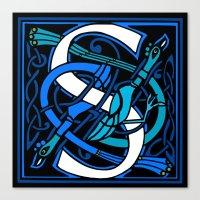 Celtic Peacocks Letter S Canvas Print