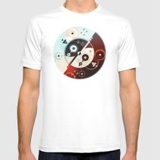 Ying-Yang Blue Version Mens Fitted Tee White SMALL