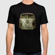 Classic VW  Micro Bus Wi… Mens Fitted Tee Black SMALL