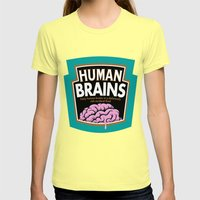 Human Brains Womens Fitted Tee Lemon SMALL