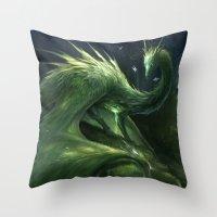 Green Crystal Dragon Throw Pillow