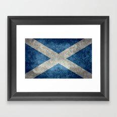 National flag of Scotland - Vintage version Framed Art Print