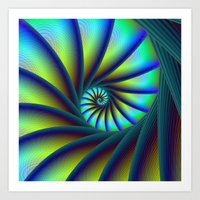 Staircase Spiral In Blue… Art Print