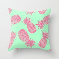 Pineapple Pattern - Mint & Crimson Throw Pillow
