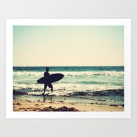 Vintage Surfer Art Print