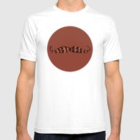 Feather Mustache Mens Fitted Tee White SMALL