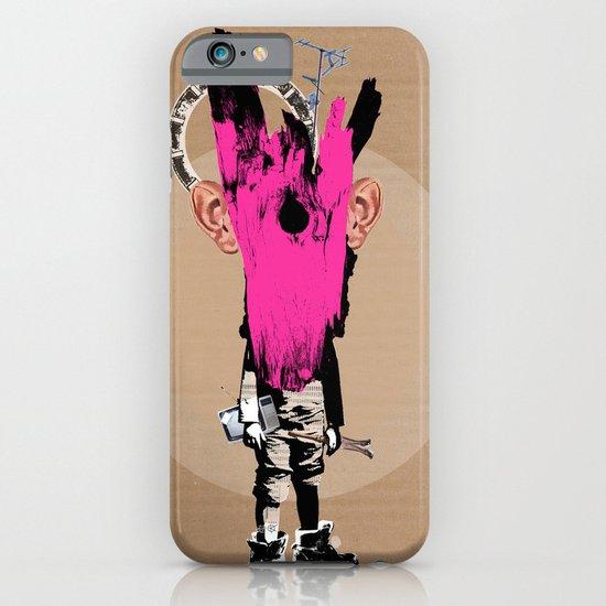 Crazy Pink Wooden Deer Head Kid Collage iPhone & iPod Case