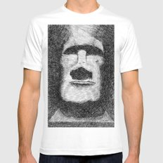 Easter island - Moai statue - Ink Mens Fitted Tee SMALL White