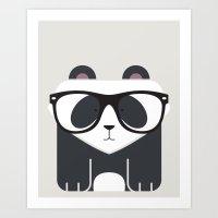 Hipster Panda Bear Art P… Art Print