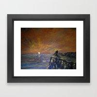 Golden Sunset Gazing Framed Art Print