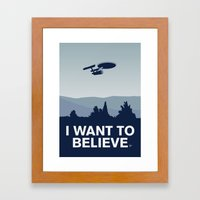 My I want to believe minimal poster-Enterprice Framed Art Print