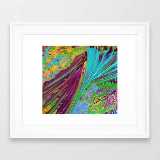 COLOR CHAOS Wild Vibrant Colorful Abstract Acrylic Painting Lime Green Plum Purple Gift Art Decor Framed Art Print