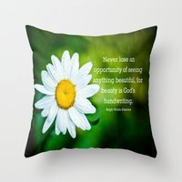 Flower Dewdrops Throw Pillow