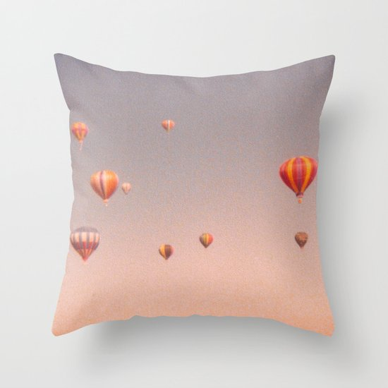vintage hot air balloons in rio Throw Pillow