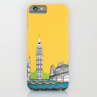 iPhone & iPod Case featuring London Town Pop Art with spotty sky by bluebutton studio