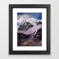 Alpen und Flüchtlinge Framed Art Print