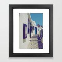 Santorini Walkway V Framed Art Print