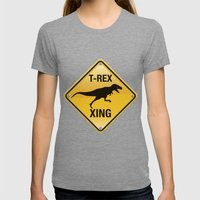 T-Rex Crossing Womens Fitted Tee Tri-Grey SMALL