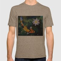 Showa Koi and Water Lily Mens Fitted Tee Tri-Coffee SMALL