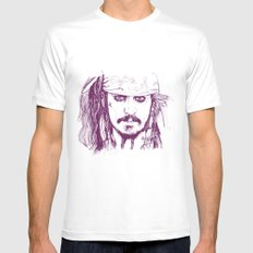 Captain Jack - Pirates of the Caribbean Mens Fitted Tee White SMALL