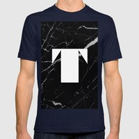 Black Marble - Alphabet T Mens Fitted Tee Navy SMALL