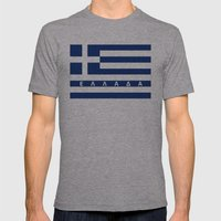greece greek country flag ellada name text Mens Fitted Tee Athletic Grey SMALL