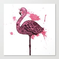 Flamingo Watercolor Prin… Canvas Print