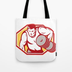 Weightlifter Lifting Weights Retro Tote Bag