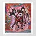 tie dye deer with bird friend and some butterflies Art Print
