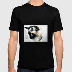 Siamese Cat Unedited Mens Fitted Tee Black SMALL