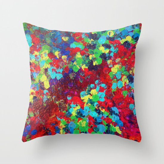 POND IN PIGMENT - Bright Bold Neon Abstract Acylic Floral Aquatic Painting Dots Pattern Trendy Gift  Throw Pillow