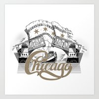 chicago Art Prints featuring Chicago by pakowacz