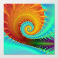 Toothed Spiral In Turquo… Canvas Print