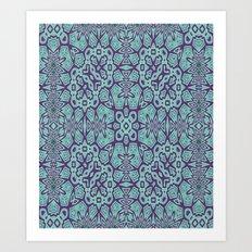 Ethnic Geo Teal & Plum Art Print