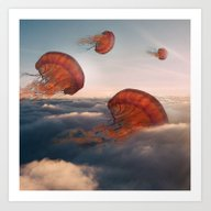 Sky Jellyfish Art Print