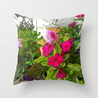 Mixed Annuals Throw Pillow