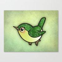 Cute Green Bird Canvas Print