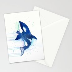 Killer Whale Orca Watercolor Painting Animal Art Stationery Cards