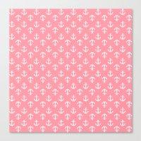 Pink Anchors Pattern Canvas Print