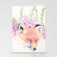 Fox & Foxgloves // Cream Stationery Cards