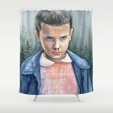 Stranger Things Eleven Portrait | Watercolor Painting Shower Curtain