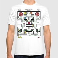 NeW PaCmAN Mens Fitted Tee White SMALL