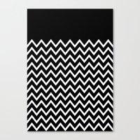White Chevron On Black Canvas Print